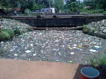 Solid Waste dumping in Mullissery Canal. Source: I. Raj (2011)